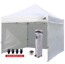 White Canopy Tent with Sidewalls Commercial Craft Fair 10 X 10 Pop-up We... - $307.97