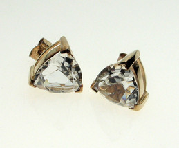 Pair of Large 10mm Trillion Cut Clear Stone Earrings 9ct Gold Studs Pierced Ears - $96.22