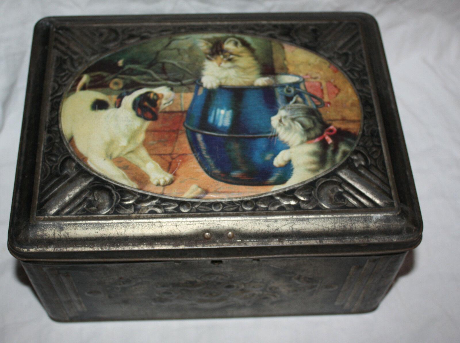 Vintage Tin Box Cats Dog Large Cute Cookie Tin Candy Box Metal