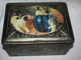 Vintage Tin Box Cats Dog Large Cute Cookie Tin Candy Box Metal  - $33.69