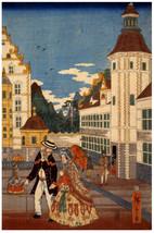 Japanese POSTER.Stylish Woodblock Graphics.City Scene. Asia Decor.Japan ... - $10.89+