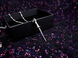 voldemort wand necklace sterling silver 925 harry potter hogwarts handma... - $59.30