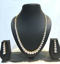 New Indian Bollywood Ethnic CZ Gold Plated Fashion Wedding Jewelry Necklace Set - $38.60