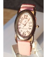 Daisy Fuentes Ladies Pink Leather Silver Stainless Stones Quartz Casual ... - $17.49