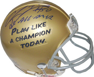 Chris Zorich signed Notre Dame Fighting Irish Play Like A Champion Logo Mini Hel