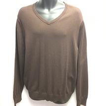 John Ashford Mens V-Neck Cotton Pullover Sweater Sable Brown XL NWT - $39.99