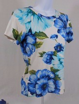 Karen Kane Floral Short Sleeve Top White Blue Flowers Size-small   (C22) - $5.45