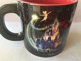 DISNEY COFFEE MUG Four Parks One World Mickey Mouse Wizard Tinkerbell - ... - £19.21 GBP