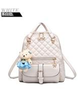 Beige Students Leather Girl's Bookbags 7 Color Girl's School Backpacks G039-6