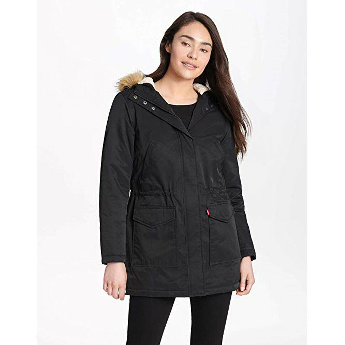 Primary image for Levi's Women's Performance Sherpa Lined Midlength Parka Jacket, Black, X-Large