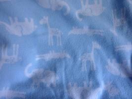 Carter's Blue Fleece Baby Blanket Jungle Animal Print Cotton Reversible ... - $19.55