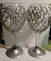 Unique Silver Abstract Goblet Set Glass Wine Barware 3D Hand Painted Gla... - $16.00