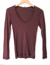 NEW! Splendid USA Pima Cotton V-Neck Long Sleeve Brown Women's Knit Top ... - $46.00