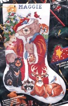 Bucilla A Woodland Christmas Santa Bear Animals Cross Stitch Stocking Kit 83224 - $84.95