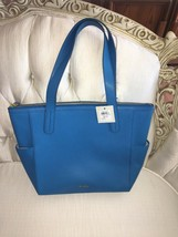 FOSSIL MIMI WOMENS CERULEAN  LEATHER TOP ZIP TOTE  BAG NEW - $105.00
