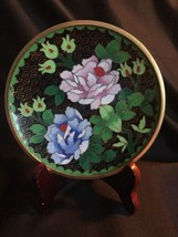 "Vintage Cloisonné Chinese Asian 6"" Floral Decorative Plate  Gold Raised ... - $18.70"