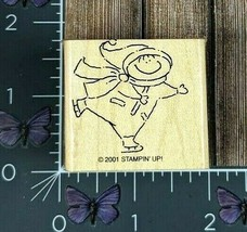 Stampin' Up! Child Ice Skating Rubber Stamp 2001 Wood Mount #AB16 - $2.72
