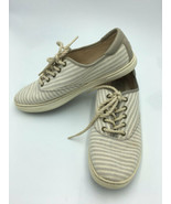 Ugg Eyan II Womens 9 Oyster Stripe Sneakers Shoes Canvas Lace Up Nautical - $24.99
