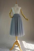 GRAY MIDI Tulle Skirt Women's High Waist Tulle Midi Skirt Bridesmaid Tulle Skirt image 10