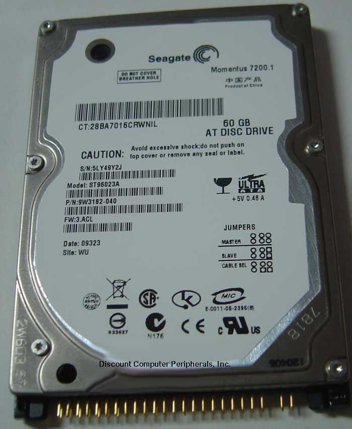 "New Seagate ST96023A 60GB IDE 44PIN 2.5"" 9.5MM Hard Drive Free USA Ship"