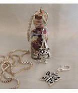 Handmade Glass Bottle Necklace Zip Clip Audi's Garden Gnome Butterfly 92... - $21.99