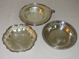 Lot of 3 Silverplate Small Round Bowls Vtg Wm Rogers Chippendale Reed Ba... - $25.24