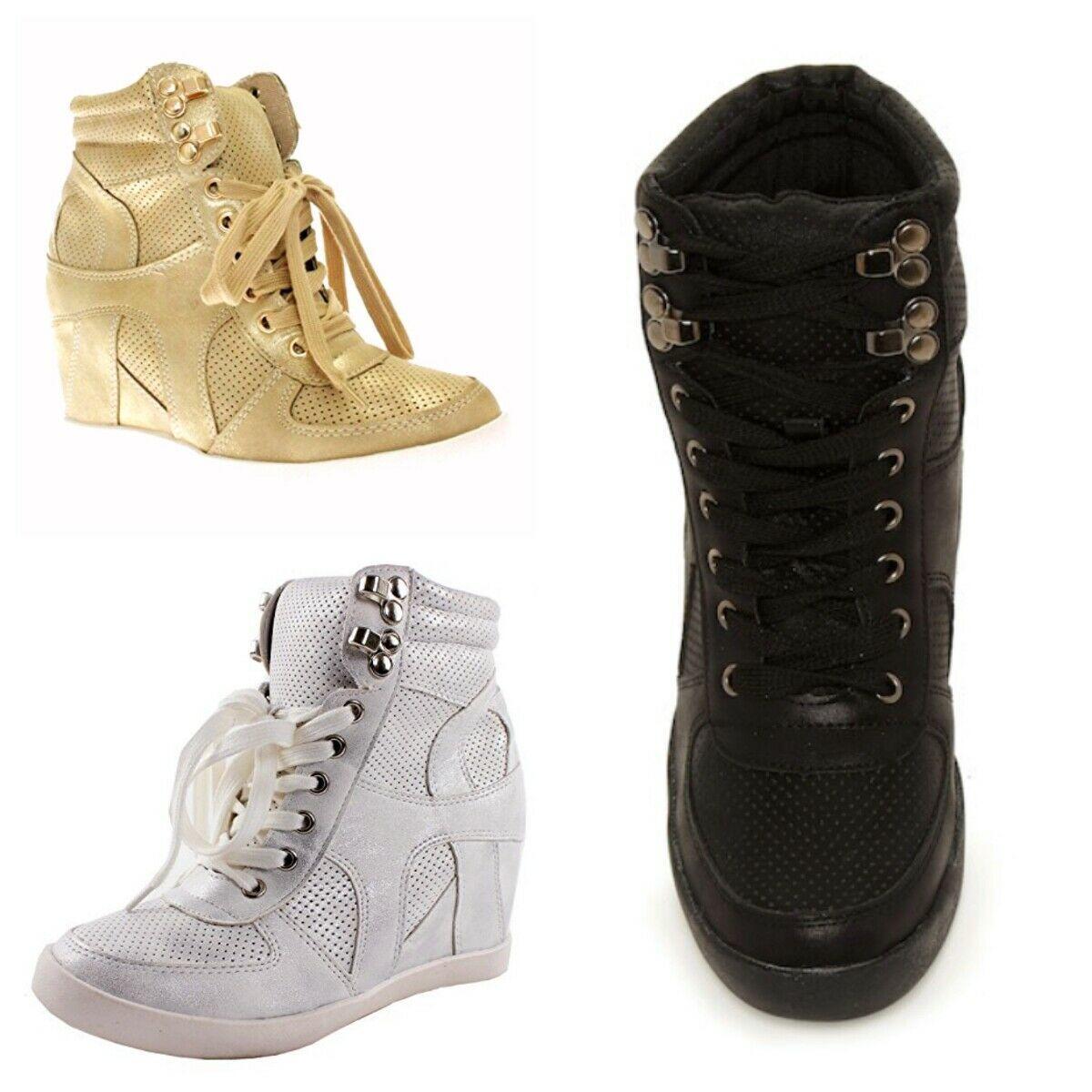 Top Moda Eric-9 Women's High Top Lace Up Fashion Sneaker Wedge Booties - $24.98