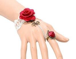Complex Gulei Si Crystal Gemstone Bracelet Ring Jewelry, Red Rose