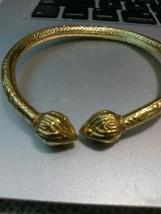 Goldtone Bracelet With Hieroglyphic Design Sz Small - $18.70