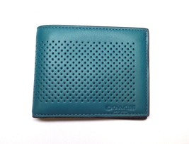 NEW MEN'S COACH LEATHER PERFORATED BI-FOLD SEA ... - $55.00