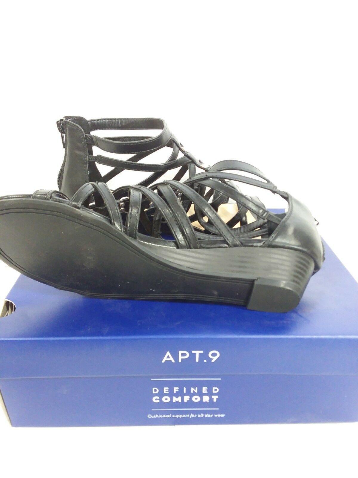 Apt 9 Black Strappy Roman Gladiator Opportunity Wedge Sandal Size 8.5 W
