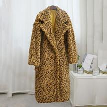 Luxury Fashion Leopard Long Thick  Faux Fur Teddy Bear Coat image 11
