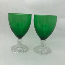"""2 Vintage Anchor Hocking Bubble Forest Green Wine Juice Glasses @ 4.5"""" - $24.18"""