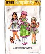1974 HOLLY HOBBIE  DRESS, JUMPER & CAP Pattern 6299-s Girl Size 4 - Comp... - $12.99
