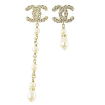 BRAND NEW AUTHENTIC CHANEL 2019 CC Gold Multi PEARL Long Drop Earrings RARE image 3