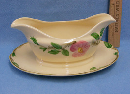 Vintage Franciscan Earthenware Desert Rose Gravy Boat Fixed Attached Plate USA - $13.85