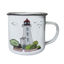 Light house hand drawn Retro,Tin, Enamel 10oz Mug u201e - $13.13