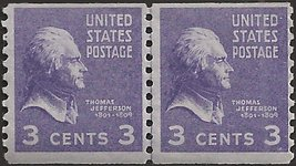 1939 3c Jefferson Coil Line Pair of US Postage Stamps Catalog Number 842 MNH