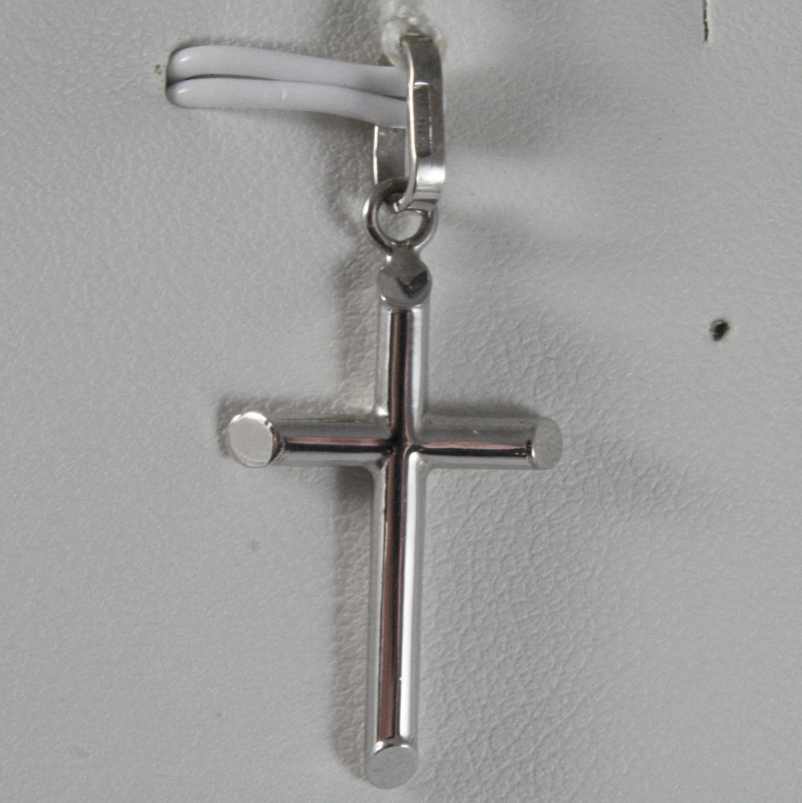 SOLID 18K WHITE GOLD CROSS, TUBE, SHINY 1.26, MADE IN ITALY