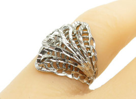 925 Sterling Silver - Vintage Shiny Floral Filigree Band Ring Sz 7 - R12742 - $22.43