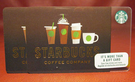 Lot of 3 Starbucks COFFEE COMPANY Brown Cups 2017 Gift Cards New with Tags - $4.30
