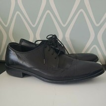 Cole Haan Mens Black Soft Leather Oxford Dress Shoes Size 10 Wide - $39.30