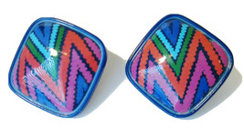 Vtg Avon 1988 COLOR COLLAGE Clip On Earrings w Box BRIGHT LUCITE BLUE So... - $12.99