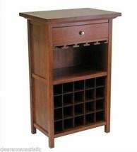 Walnut Finish Wooden Wine Rack Cabinet Storage Glass Holds 20 Bottles Vi... - $193.94