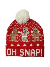 Holiday Time Women's Holiday Beanie Hat Oh Snap! Gingerbread Men Red Whi... - $11.87