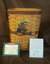 Longaberger 1995 FATHER'S DAY Mini WASTE BASKET 11266 Protector & Tie On - $35.00