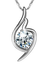 Necklace I LOVE YOU Luxury Silver Necklace,18k White Gold Plated 925 Ste... - $65.11