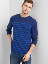 GAP Men's Stripe Crewneck Long Sleeve T-Shirt 100% Cotton Navy Size M NWT - $35.96