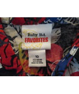 Womens Shirt Size 10 Ruby Rd. Favorites Black/White/Red/Blue Hawaiin TF2... - $10.93