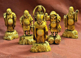Set of Six Vintage Brown Antiqued Cream Color Resin Asian Figurines